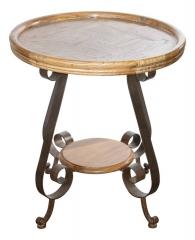 Круглый стол со столешницей из натурального эльма