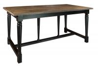 Стол обеденный из дерева с черным основанием