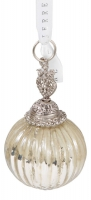 Ёлочное украшение - шар серебряный в стиле прованс