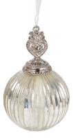 Ёлочное украшение - шар серебряный
