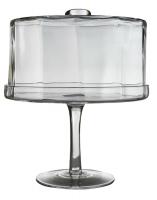 Пирожница на ножке с стеклянной крышкой (стекло) в стиле прованс